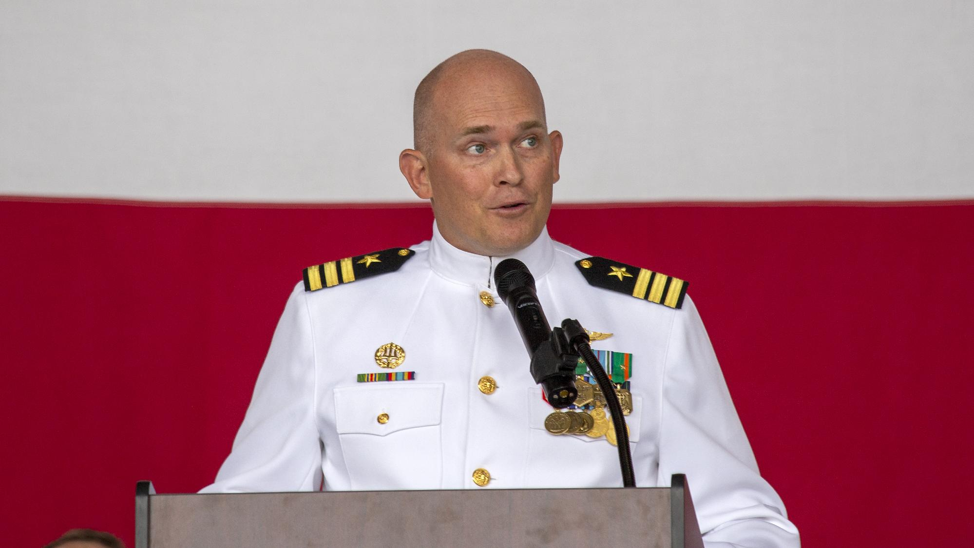 Cmdr. Paul Meyer speaks during his change of command ceremony