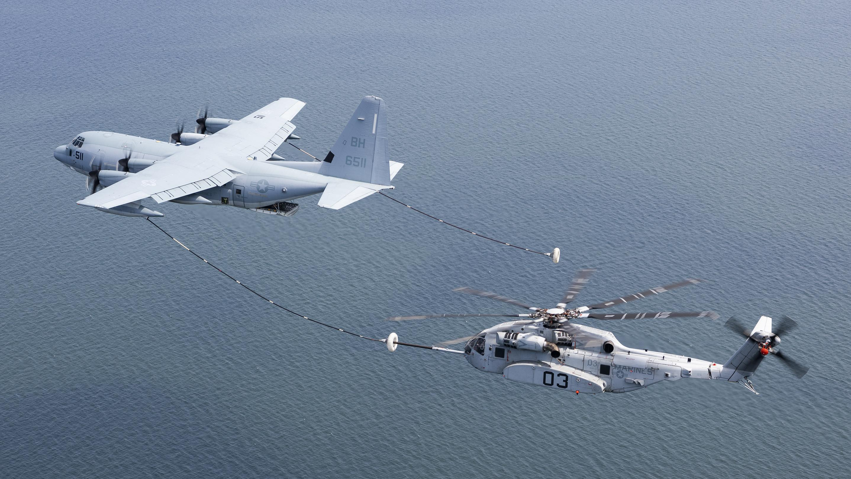 CH-53K tests air-to-air refuel with KC-130J
