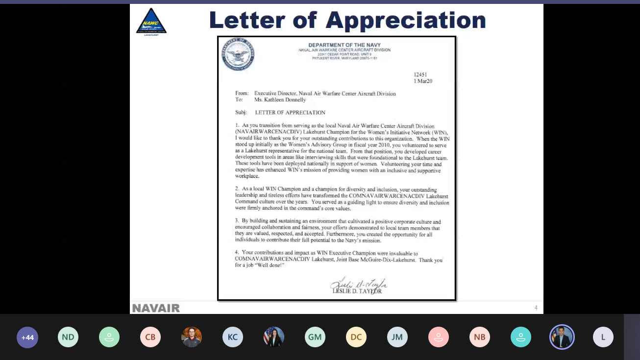 Screenshot of letter of appreciation during virtual event