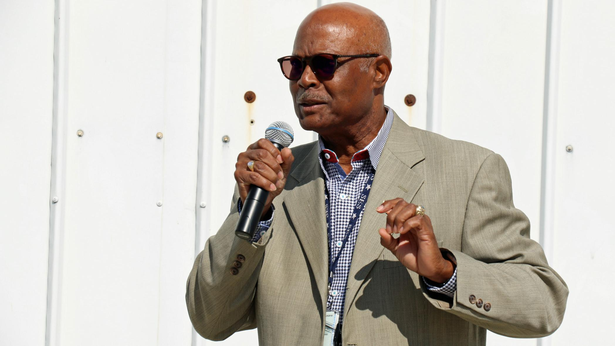 Dr. Ron Smiley speaks about his passion for innovation and mentoring during a ceremony celebrating the opening of the Innovation LaunchPad at Point Mugu in June 2018.