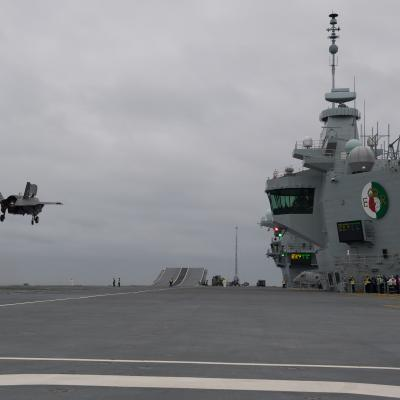 An F-35B prepares to land aboard HMS Queen Elizabeth