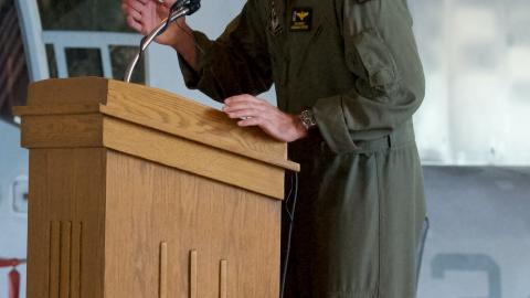 Cmdr. Daniel Short delivers remarks during the change of command ceremony for Air Test and Evaluation Squadron (HX) 21 on Oct. 9, 2020. Short, who previously served as HX-21's chief test pilot, assumed command of the squadron from Lt. Col. John Ennis. (U.S. Navy photo by Paul Lagasse)